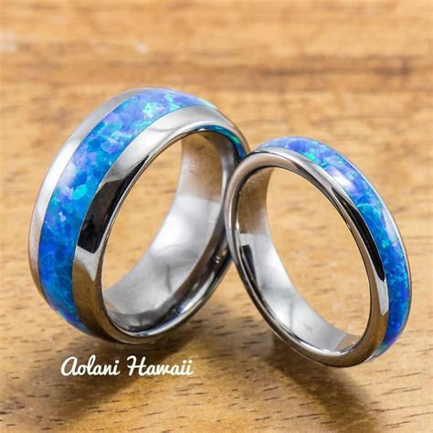 Wedding Band Set of Tungsten Rings with Opal Inlay (8mm