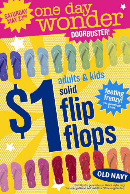 $1 Flip Flop Sale at Old Navy