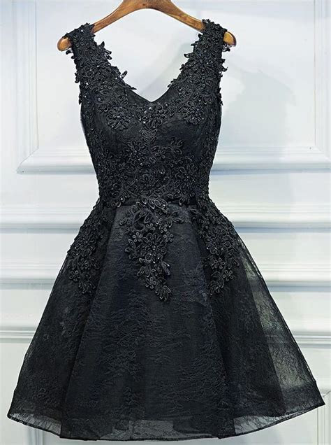Black Homecoming Dresses,Lace Homecoming Dress,Little