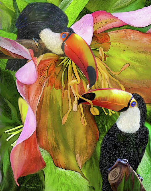 Tropic Spirits - Toco Toucans by Carol Cavalaris