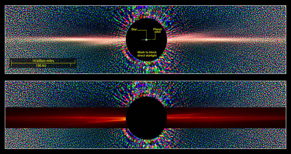 Hubble view of Beta Pictoris in scattered light (top) with similar view constructed from data simulation (red overlay)