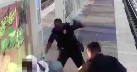 Police officer resigns after he's caught on camera beating man at train station