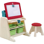 Step2 - Flip & Doodle Easel Desk with Stool - Teal & Lime