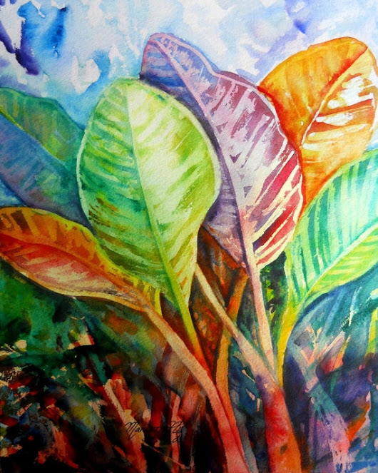 Tropical Leaves tropical foliage Hawaii art colorful