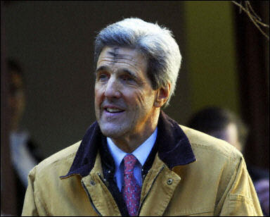 Senator John Kerry with Ashes