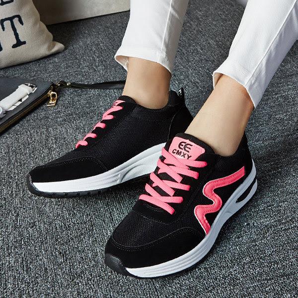 Negro Por menos de malla transpirable de la plataforma con cordones de zapatos de deporte ocasional