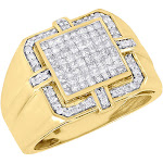 10K Yellow Gold Mens Invisible Princess Cut Diamond Square Pinky Ring 1.05 Ct.