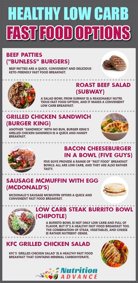 carb fast food breakfast  dinner options