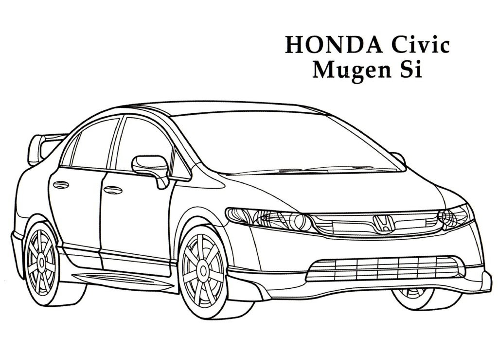 honda civic mugen si cars coloring pages kids coloring pages