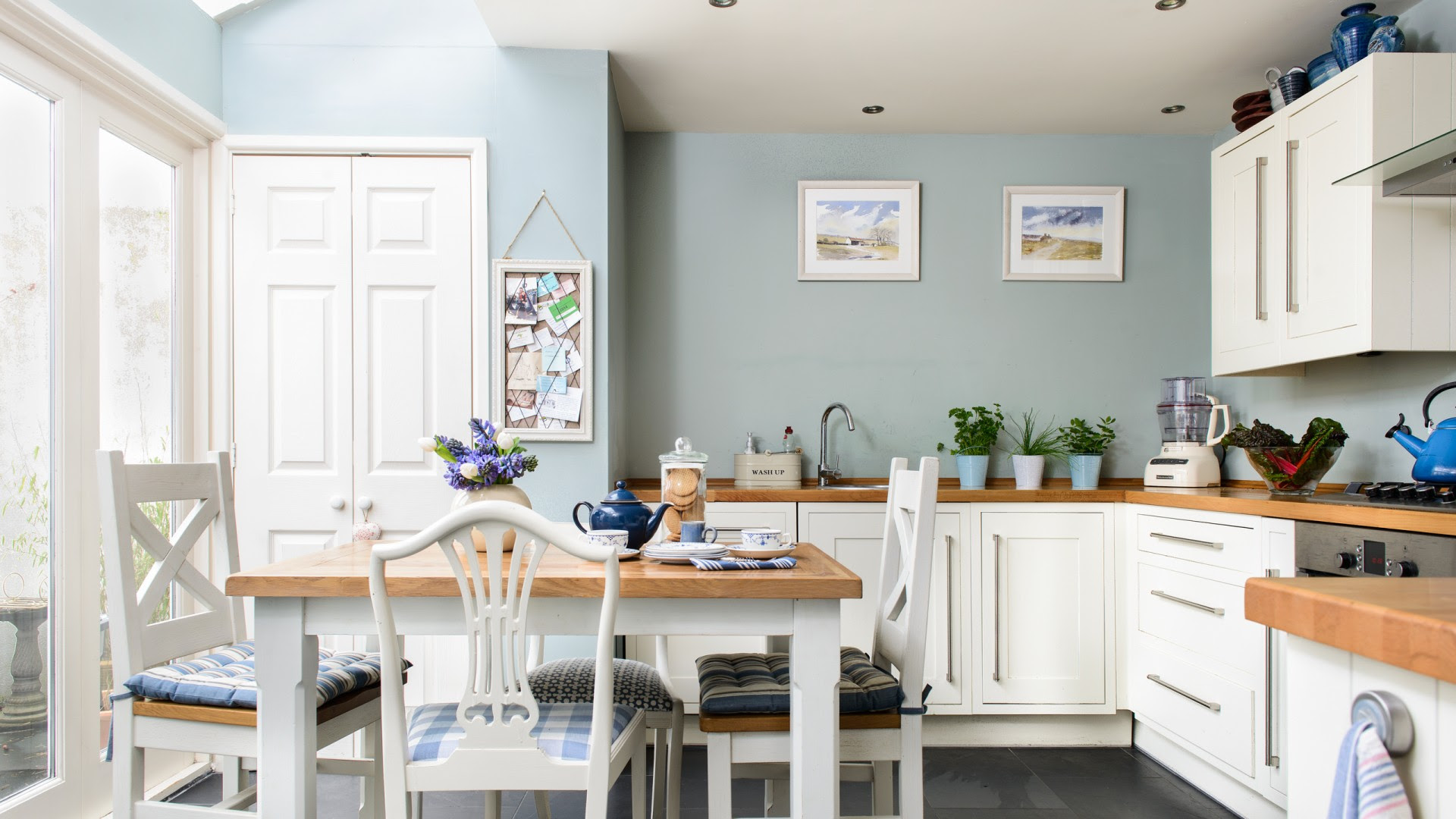 Duck Egg Blue Kitchen with White Cabinets - The Room Edit