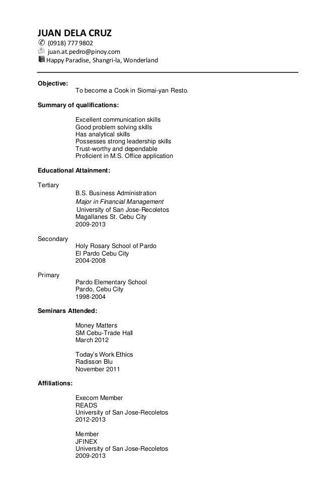Combination Resume Sample For Fresh Graduate Asleafar