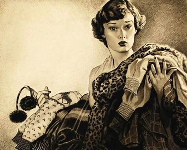 Edmund Franklin Ward (1892 – 1990) Woman Holding An Armload Of Coats And Sweaters