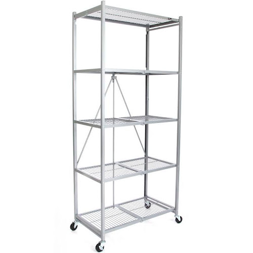 "Origami Large Wheeled 5-Shelf Folding Steel Wire Shelving Platinum (21""x36""x78"")"