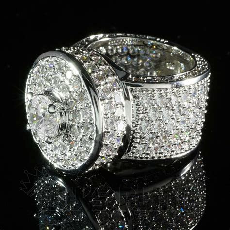 18K White Gold ICED OUT Simulated Diamond Band MICROPAVE
