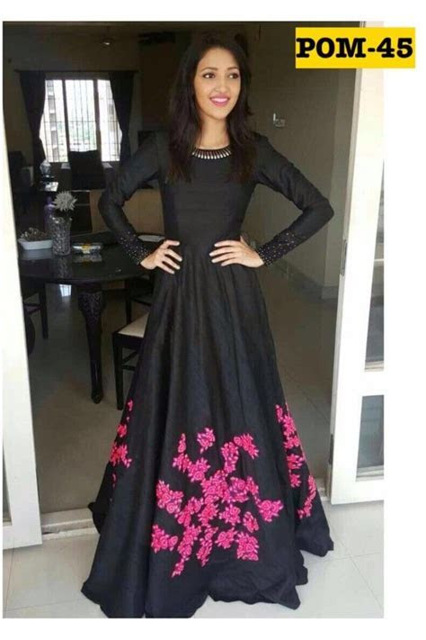 Bollywood Style   Party Wear Black & Pink Gown   POM 45 in