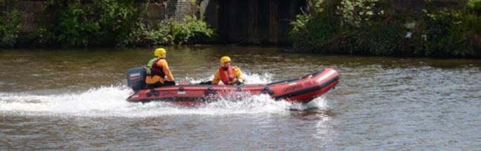 Water rescue by firefighters