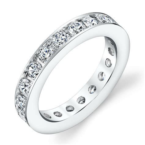 Sterling Silver CZ Eternity Round Channel Set Womens