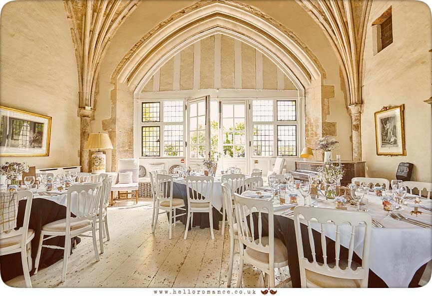 Main room at Butley priory set up for wedding breakfast - www.helloromance.co.uk