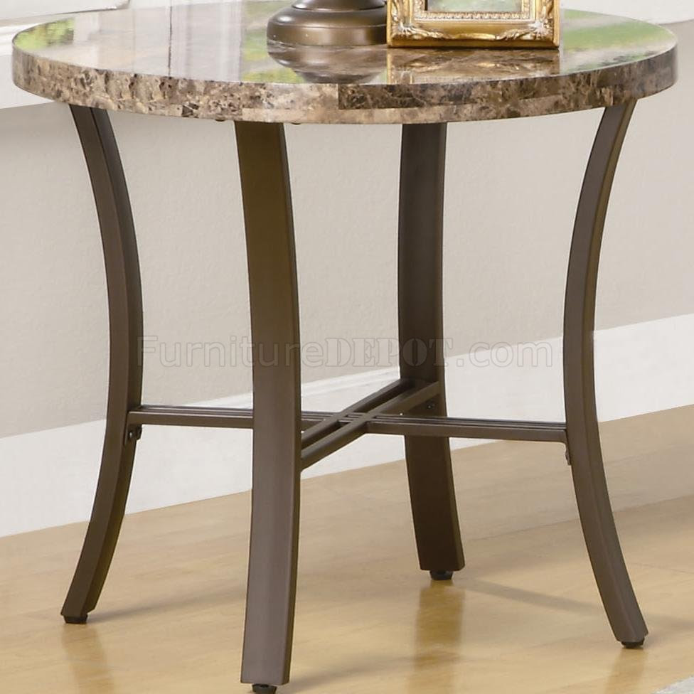 Marble-Like Round Top & Metal Base Modern 3Pc Coffee Table Set