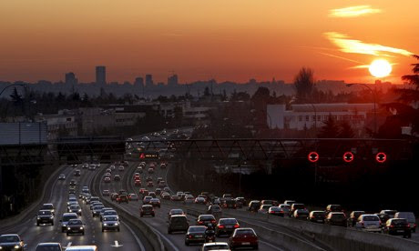 Madrid's clogged A6 road. Air pollution is reaching critical levels in Madrid