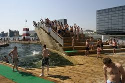 Havnebadet, a large pool area in the clean waters of the inner harbour, is hugely popular on sunny days