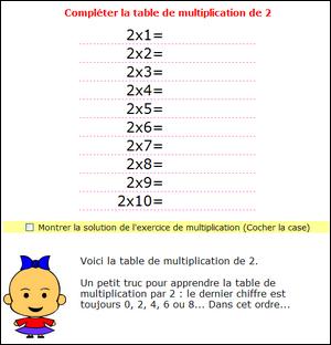 Multiplication Tables De Multiplications De 1 2 3 4 5 6 7