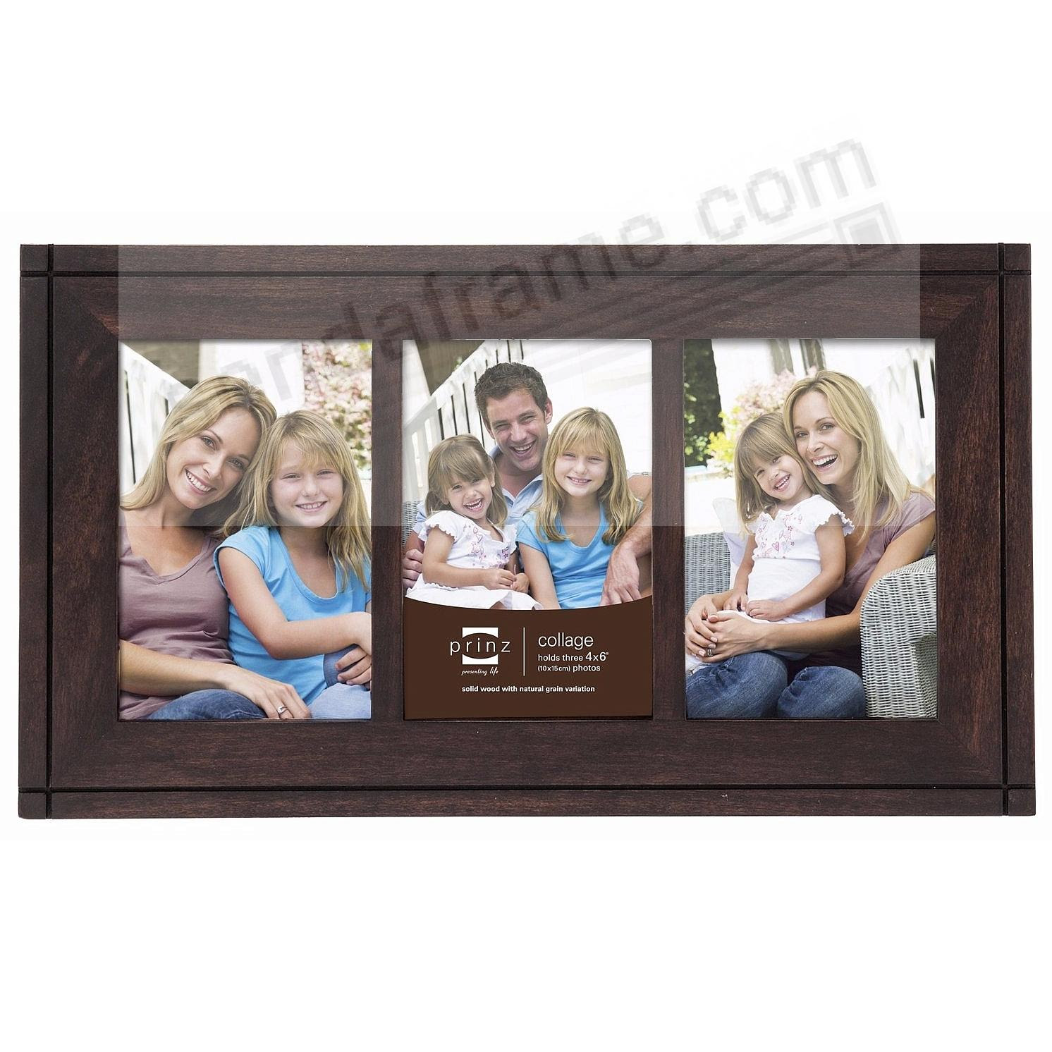 Dryden Espresso Stained 4x6 Trio Frame By Prinz Picture Frames