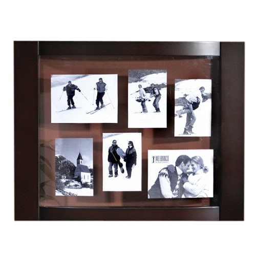 Cheap Photo Frames Melannco Dark Walnut Curved Collage