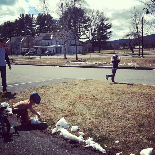 And now they're playing with snow while wearing t-shirts. I don't understand this weather at all. #newenglandisweird