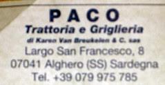 TRATTORIA PACO-EL ALGHERO