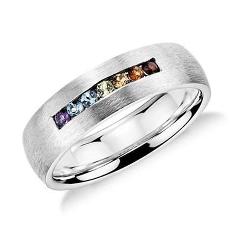 Colin Cowie Rainbow Channel Set Wedding Ring in 18k White