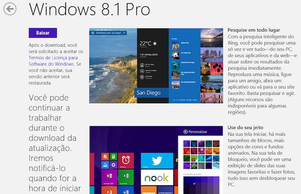 Download do Windows 8.1 na Windows Store (Foto: Reprodução/Helito Bijora)