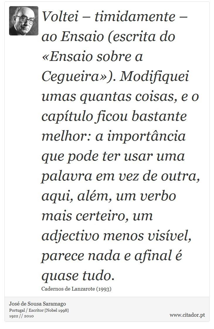 Voltei Timidamente Ao Ensaio Escrita Do José De Sousa