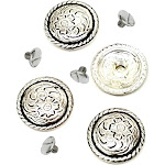 """Western Saddle Bright Concho 3/4"""" 4 Pack Antiqued Silver With 1/4"""" Screw By Hill Leather Company"""