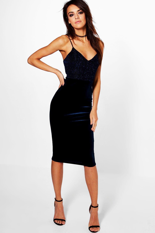 Velvet bodycon dress midi business
