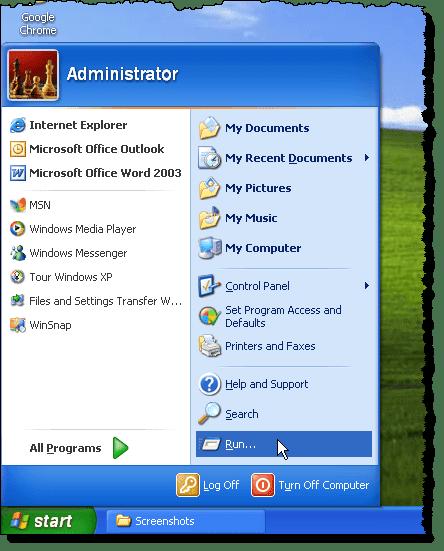 Selecting Run from the Start menu
