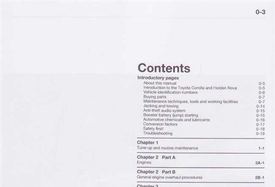 1996 Toyota Corolla Service Manual