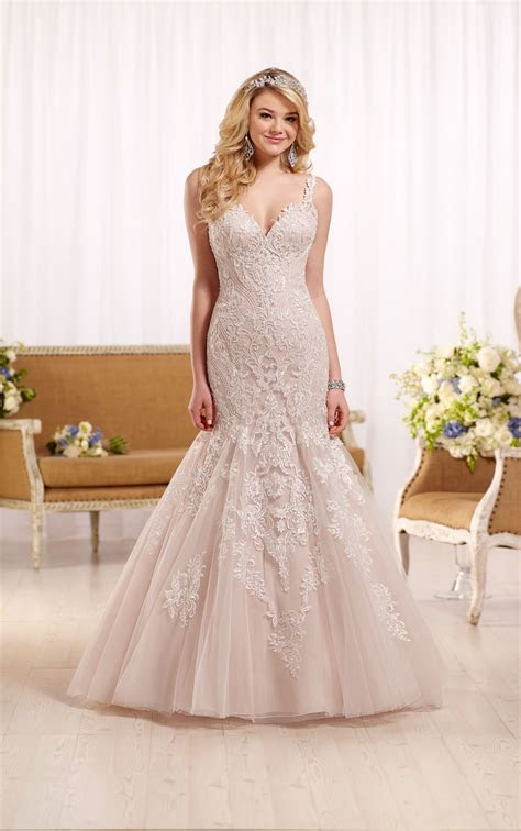 Fit and Flare Wedding Dress with Low Cut Back   Essense of