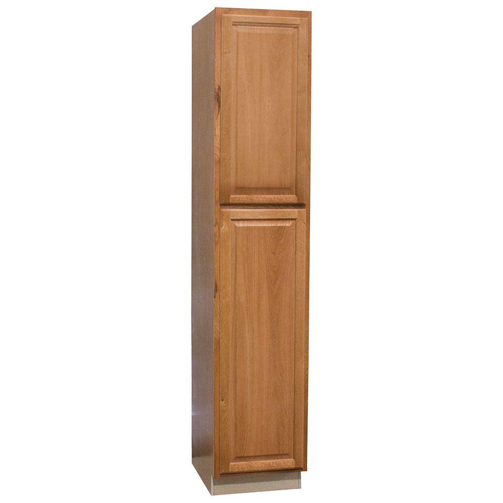 Quick Ship & Assembled Cabinets: Hampton Bay Kitchen Cabinets 18x90x24 in. Hampton Pantry Cabinet in Medium Oak KP1890-MO