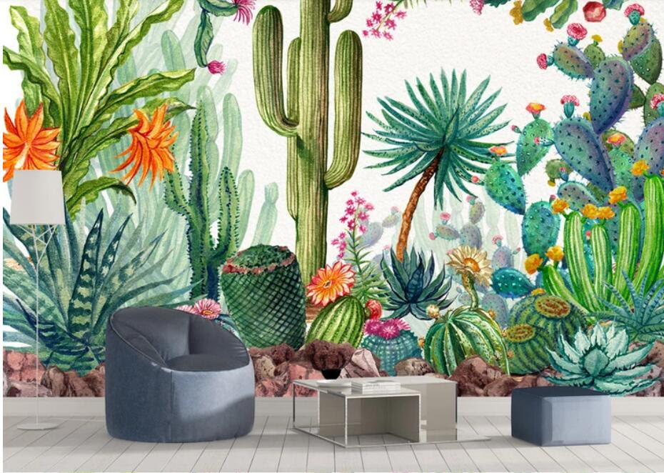 Cactus Flower Wallpapers 3d Wall Murals Wallpaper For Living Room Wall Decor Floral Printed Photo Wall Paper Cactic Murals
