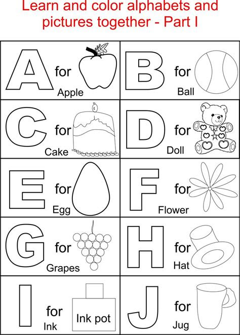 alphabets coloring printable pages  kids