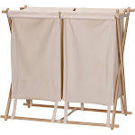 Household Essentials Collapsible Wood X-Frame Double Laundry Hamper Sorter