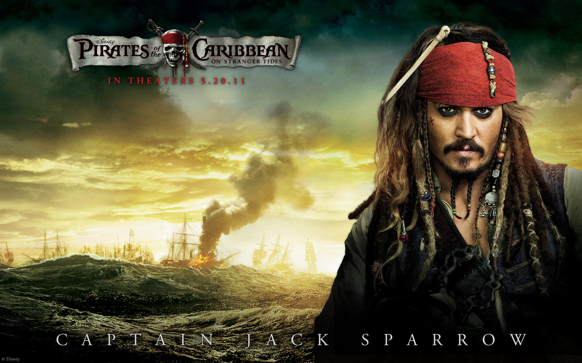 Captain Jack Sparrow On Stranger Tides Desktop Wallpaper