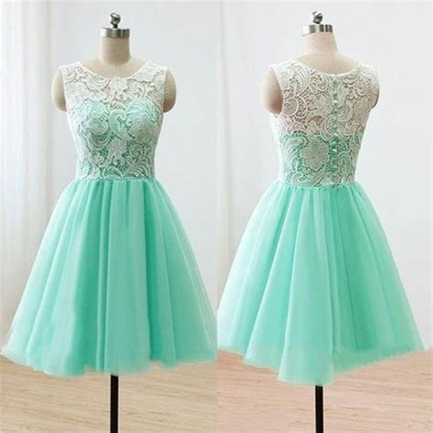 Top Selling Cute Mint Handmade Lace Homecoming Dresses For