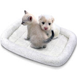Dog Bed by Fluffy Paws Small Soft Warm Foldable Washable Pet Dog Cat Fleece Crate Mat Bed w/Accessories Pocket - White