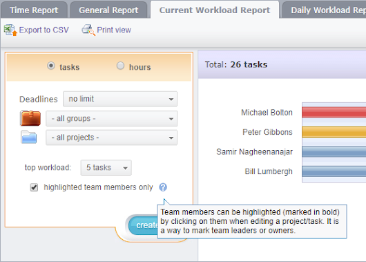 "Workload Reports update: ""highlighted team members only"" flag"