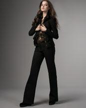-25M1 Diane von Furstenberg Ruffled Chiffon Top & Knit Trousers