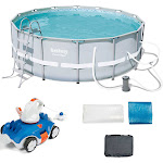 """Bestway 14' x 48"""" Power Steel Frame Above Ground Round Pool Set and Robo Cleaner by VM Express"""