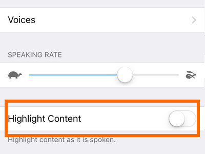 iphone settings Highlight Content