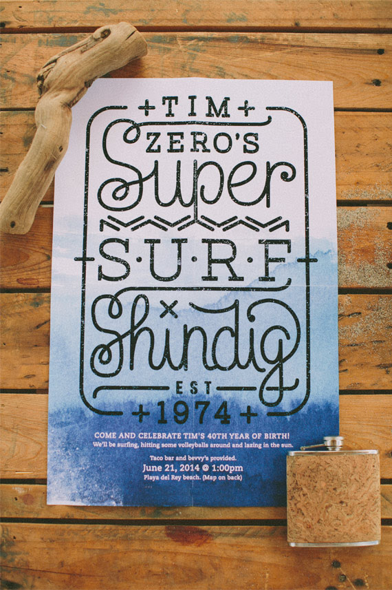 Surf themed 40th birthday party   Photo by Laura Goldenberger   100 Layer Cake